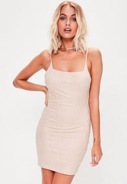 Nude Suedette Cami Bodycon Dress