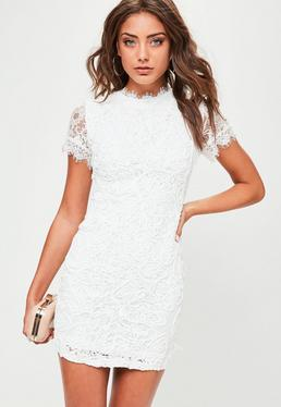 White Lace Corded Short Sleeve Dress