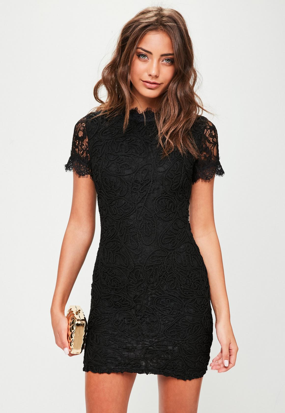 Black Lace Short Sleeve Mini Dress | Missguided