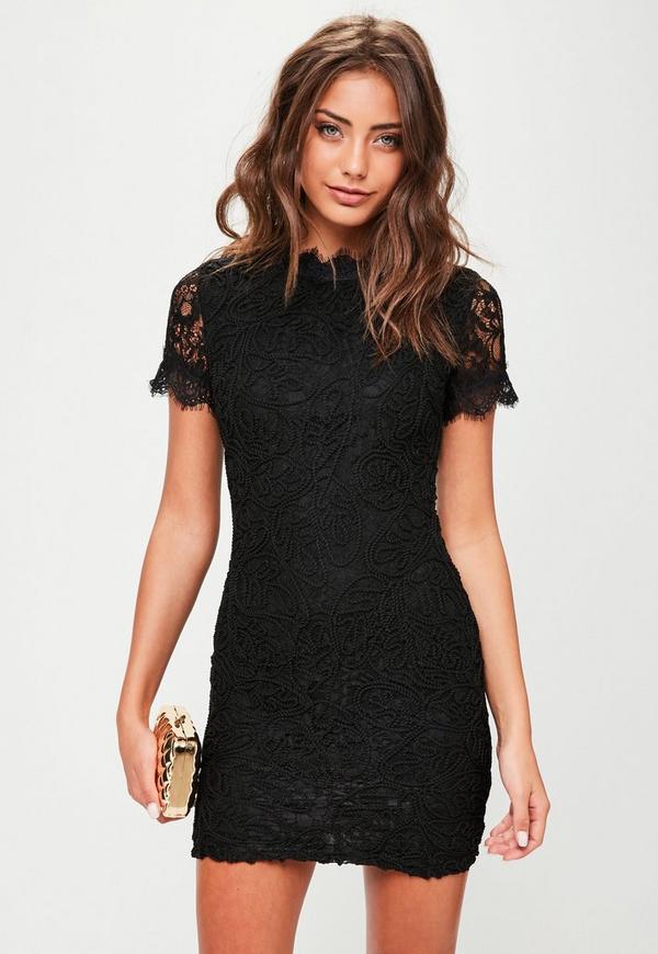 Black short lace dress