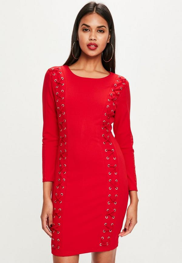 f50d15612257 ... Red Lace Up Front Bodycon Dress. Previous Next