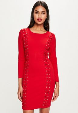 Red Lace Up Front Bodycon Dress