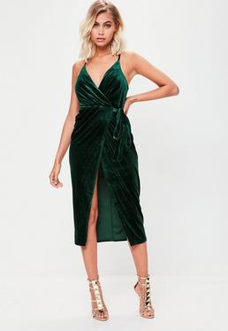 Green Velvet Midi Cami Dress