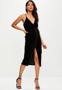 Black Velvet Midi Cami Dress