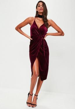 Burgundy Velvet Midi Cami Dress