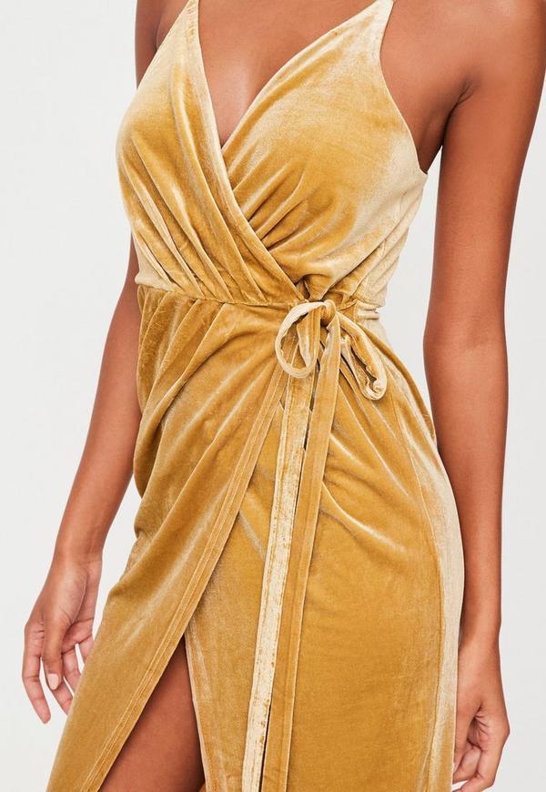 f89ce47169aa Yellow Velvet Cami Midi Dress. Previous Next