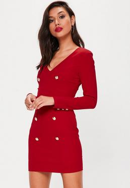 Red Button Front Long Sleeve Dress