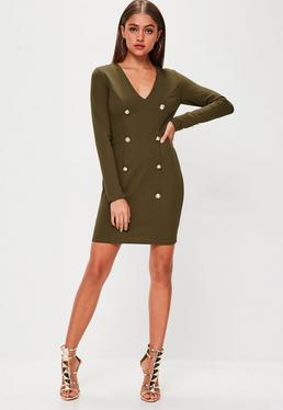 Khaki Button Front Long Sleeve Dress