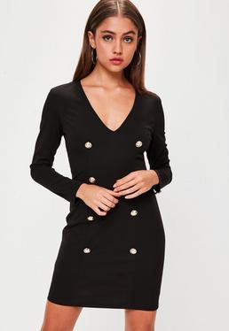 Black Button Front Long Sleeve Dress