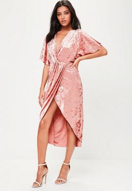 Pink Crushed Velvet Wrap Midi Dress