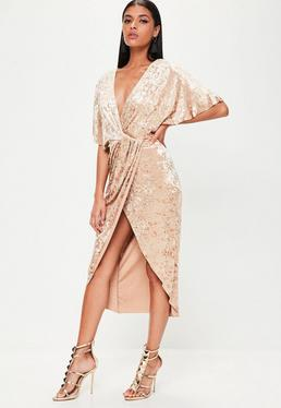 Beige Crushed Velvet Wrap Midi Dress