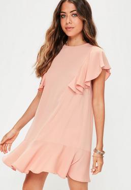Pink Frill Shoulder Drop Waist Dress