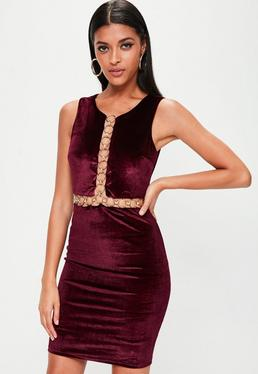 Burgundy Ring Insert Velvet Midi Dress