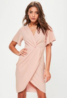 Pink V Neck Wrap Midi Dress