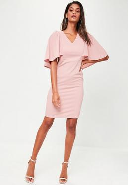 Pink Cape Shoulder Midi Dress
