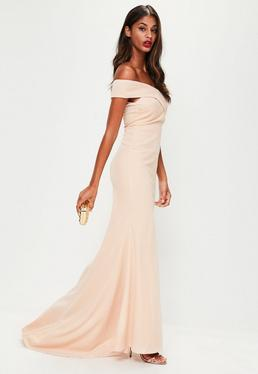 Nude Cross Front Maxi Dress