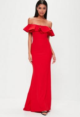 Red Frill Bardot Maxi Dress