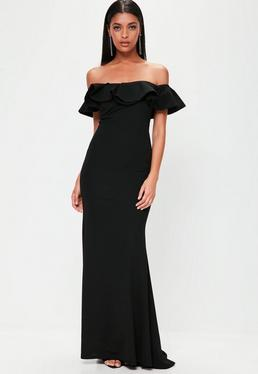 Black Frill Bardot Maxi Dress