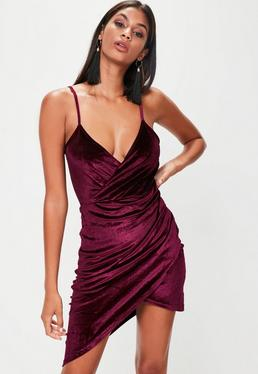 Burgundy Velvet Wrap Dress
