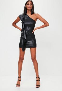 Vestido corto de vinilo con frontal de volantes en negro