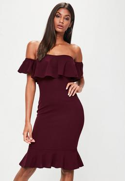 Burgundy Bardot Frill Hem Dresses