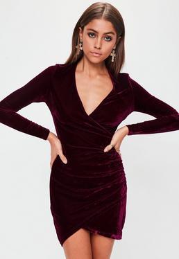 Red Velvet Long Sleeve Wrap Dress
