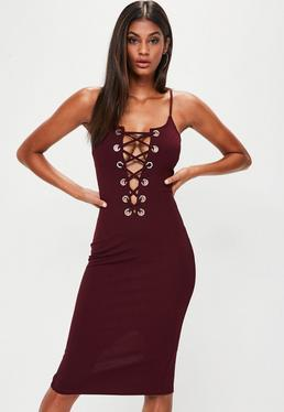 Burgundy Lace Up Front Midi Dress