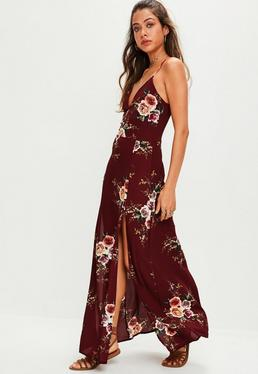 Red Floral Print Slit Leg Maxi Dress