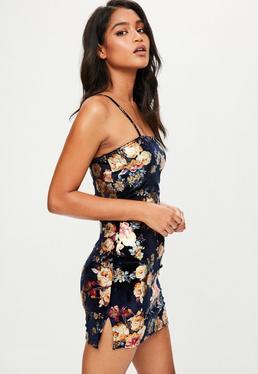 Navy Velvet Floral Cami Bodycon Dress