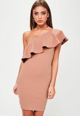 Pink One Shoulder Frill Detail Bodycon Dress