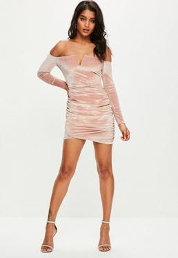 Pink Velvet Bardot Bodycon Dress