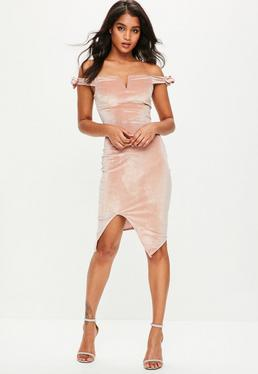 Nude Bardot Tie Sleeve Velvet Midi Dress