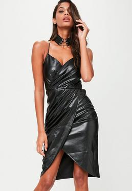 Black Faux Leather Wrap Front Midi Dress