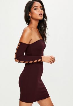 Burgundy Cut Out Sleeve Bardot Dress