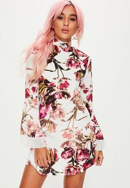 White Floral Print Flare Sleeve Shift Dress