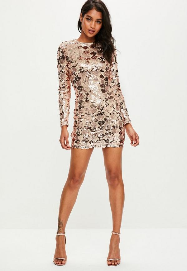 Rose Gold Sequin Bodycon Dress | Missguided