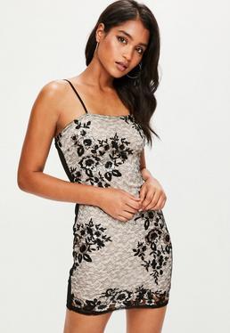 Black Sequin Detail Bodycon Mini Dress