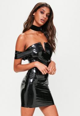 Black Wet Look Mini Dress