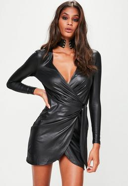 Black Leather Look Wrap Front Asymmetric Dress