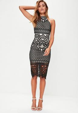 Black Crochet Bodycon Midi Dress