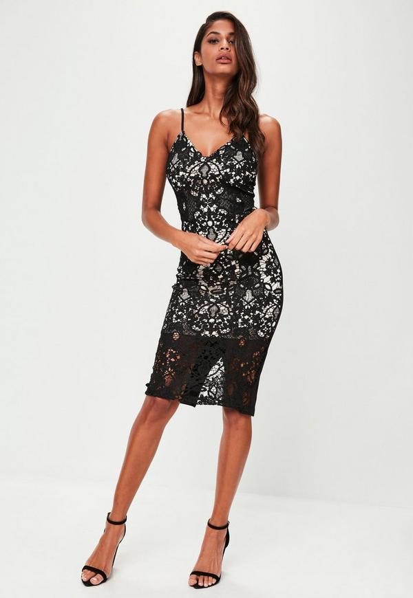 Lace bodycon midi dresses