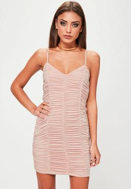 Nude Ruched Bodycon Mini Dress