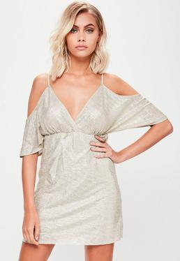 Gold Metallic Sheen Cold Shoulder Dress