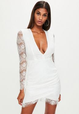 White Lace Deep V Plunge Dress