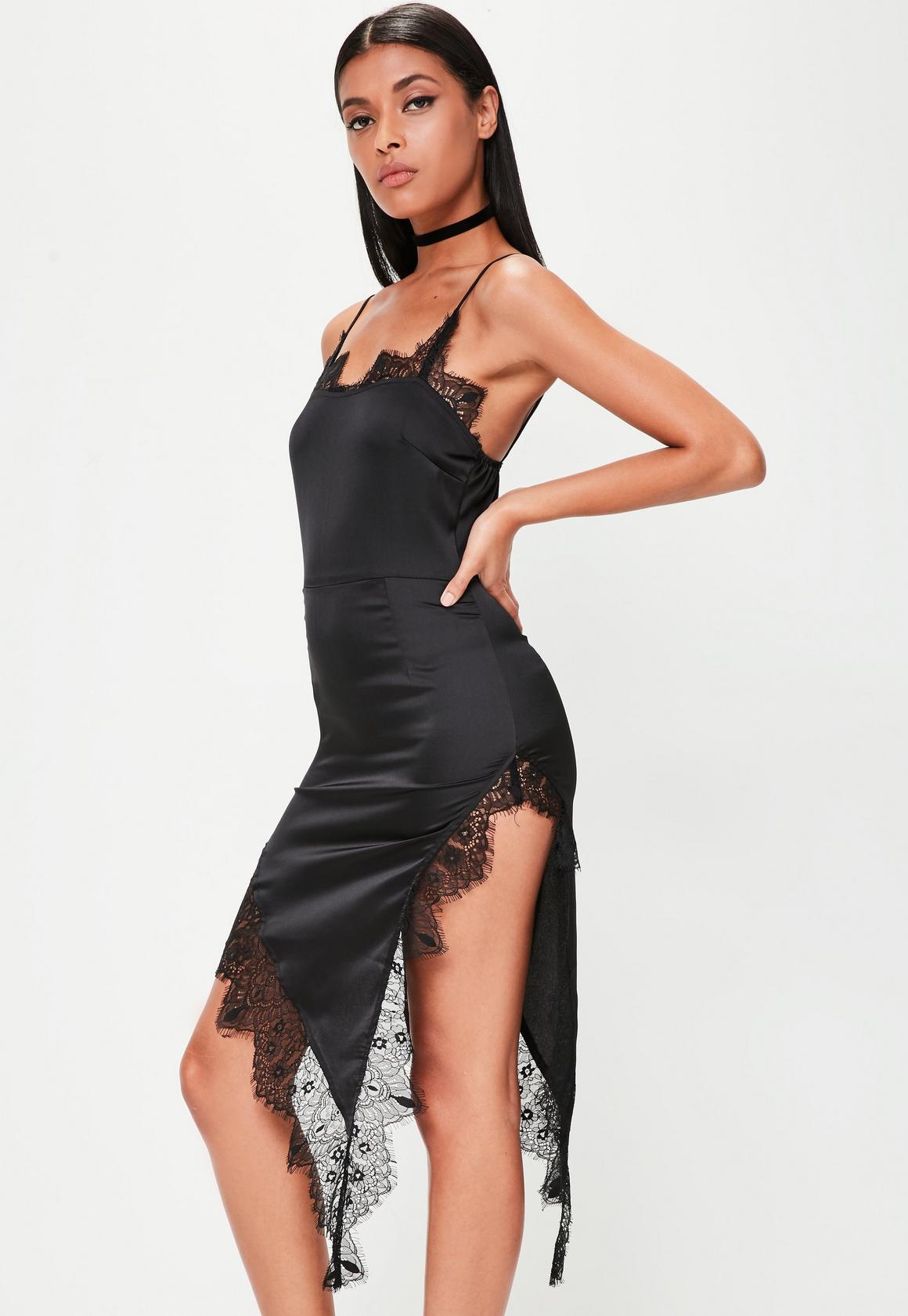 Black Satin Lace Trim Cami Dress | Missguided