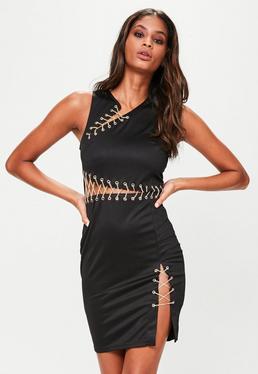 Black Eyelet Chain Bodycon Dress