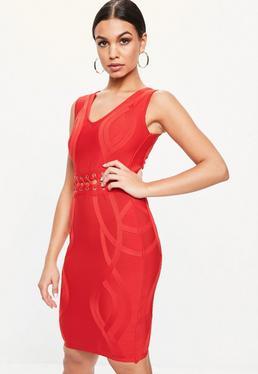 Vestido con escote en v de bandage en rojo