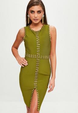 Khaki Gold Sleeveless Dress