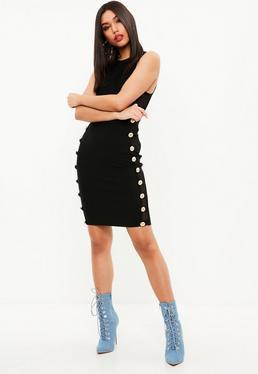 Black Cut Out side Bandage Dress