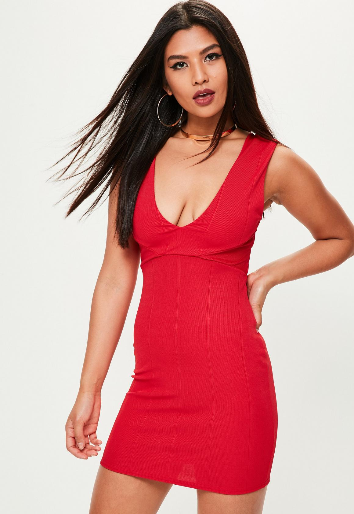 Red Deep V Bodycon Dress | Missguided